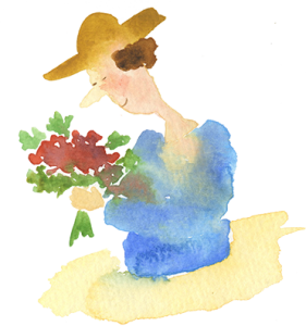 floral lady with hat sm